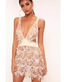 ISAWITFIRST.com Gold Sequin Cross Back Mini Dress - L / METALLIC