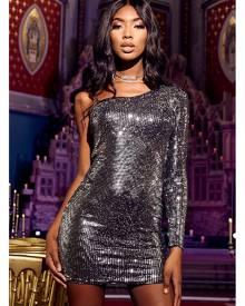 ISAWITFIRST.com Black One Shoulder Sequin Dress - 4 / BLACK