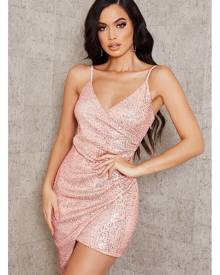 ISAWITFIRST.com Rose Gold Wrap Sequin Mini Dress - 4 / RED