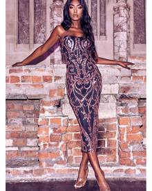 ISAWITFIRST.com Black Sequin Bandeau Midaxi Dress - 4 / BLACK