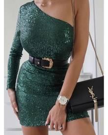 ISAWITFIRST.com Emerald Green One Shoulder Sequin Mini Dress - 4 / GREEN