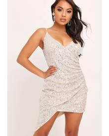 ISAWITFIRST.com Silver Wrap Sequin Mini Dress - 4 / METALLIC