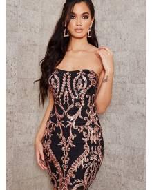 ISAWITFIRST.com Black Sequin Bandeau Mini Dress - 4 / BLACK