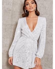 ISAWITFIRST.com Silver Sequin Belted Blazer Dress - 4 / METALLIC