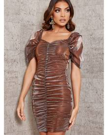 ISAWITFIRST.com Copper Mesh Sleeve Ruched Front Bodycon Dress - 4 / METALLIC