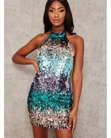 ISAWITFIRST.com Green Sequin Open Back Tie Waist Bodycon Dress - 4 / GREEN