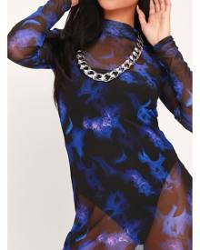 ISAWITFIRST.com Blue Tie Dye Mesh High Neck Long Sleeve Bodycon Midaxi - 10 / BLUE