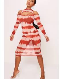 ISAWITFIRST.com Orange Mesh Tie Dye High Neck Cut Out Midi Dress - 4 / ORANGE