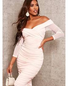 ISAWITFIRST.com Nude Mesh Bardot Ruched Midi - 4 / BEIGE