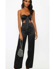 ISAWITFIRST.com Black Satin Tie Front Jumpsuit - 6 / BLACK