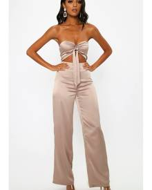 ISAWITFIRST.com Rose Satin Tie Front Jumpsuit - 6 / RED