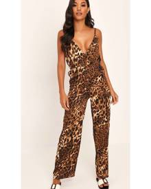 ISAWITFIRST.com Brown Leopard Print Satin Jumpsuit - 4 / BROWN