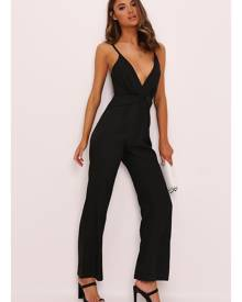 ISAWITFIRST.com Black Ruffle Detail Satin Jumpsuit - 6 / BLACK