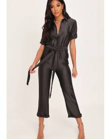 ISAWITFIRST.com Black Satin Utility Wide Leg Jumpsuit - 6 / BLACK