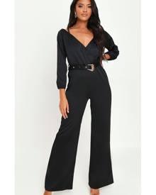 ISAWITFIRST.com Black Premium Bardot Belted Jumpsuit - 4 / BLACK