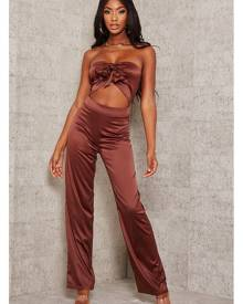 ISAWITFIRST.com Brown Satin Tie Front Jumpsuit - 4 / BROWN
