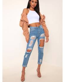 ISAWITFIRST.com Light Wash Ripped Mom Jeans - 14 / BLUE