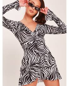 ISAWITFIRST.com White Jersey Zebra Print Wrap Front Tea Dress - 4 / WHITE