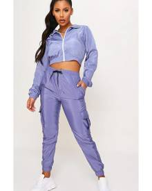 ISAWITFIRST.com Dusty Blue Cuffed Cargo Trousers - 4 / BLUE