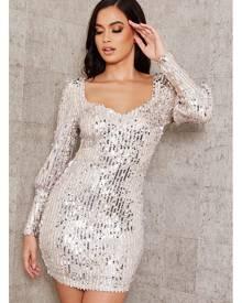 ISAWITFIRST.com Silver Sequin Puff Sleeve Mini Dress - 6 / METALLIC