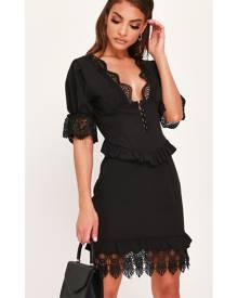 ISAWITFIRST.com Black Woven Lace Trim Button Front Tea Dress - 4 / BLACK