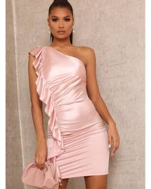 ISAWITFIRST.com Rose Satin Ruched One Shoulder Dress - XS / RED