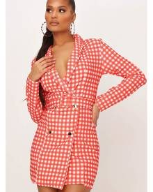 ISAWITFIRST.com Red Crepe Gingham Double Breasted Belted Blazer Dress - 4 / RED