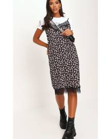 ISAWITFIRST.com Black Woven Floral Print Lace Trim Cami Midi Dress - 4 / BLACK