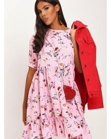 ISAWITFIRST.com Pink Ditsy Floral Short Sleeve Mini Smock Dress - 4 / PINK
