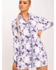 ISAWITFIRST.com Multi Jersey Tie Dye Print Zip Front Bodycon Dress - 4 / MULTI
