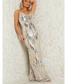 ISAWITFIRST.com Silver Sequin Plunge Maxi Dress - 4 / METALLIC