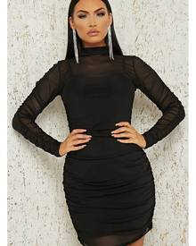 ISAWITFIRST.com Black Ruched Mesh Bodycon Dress - 4 / BLACK