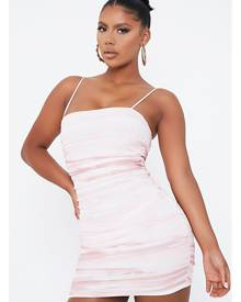 ISAWITFIRST.com Pink Mesh Marble Print Ruched Mini Dress - 4 / PINK