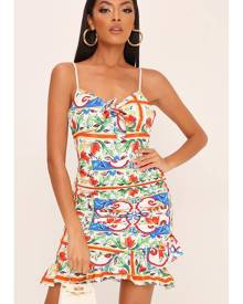 ISAWITFIRST.com White Sicilian Print Strappy Ruffle Hem Mini Dress - 6 / WHITE