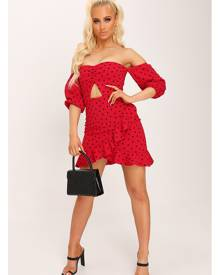 ISAWITFIRST.com Red Polka Dot Bardot Dress - 6 / RED