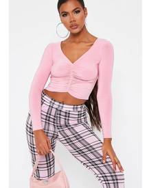 ISAWITFIRST.com Pastel Pink Slinky Ruched Front Long Sleeve Top - 4 / PINK