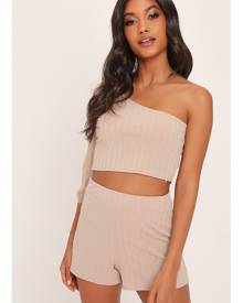 ISAWITFIRST.com Stone One Shoulder Soft Rib Top And Shorts Set - 6 / BEIGE