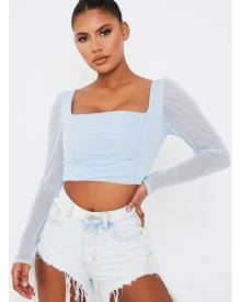ISAWITFIRST.com Pastel Blue Mesh Ruched Front Long Sleeve Crop Top - 4 / BLUE