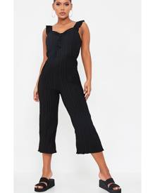 ISAWITFIRST.com Black Woven Pleated Frill Strap Culotte Jumpsuit - XS / BLACK
