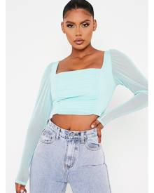 ISAWITFIRST.com Mint Green Mesh Ruched Front Long Sleeve Crop Top - 4