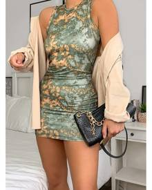 ISAWITFIRST.com Khaki Tie Dye Jersey Racer Neck Bodycon Dress - 4 / GREEN