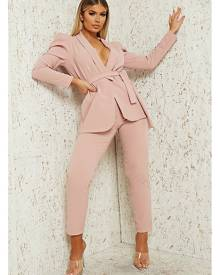 ISAWITFIRST.com Blush Pink Oversized Belted Blazer & Slim Leg Trousers Co-Ord - S/M / PINK