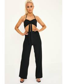 ISAWITFIRST.com Black Halterneck Crop Top And Wide Leg Trouser Co-Ord Set - 6 / BLACK