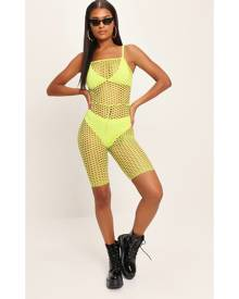 ISAWITFIRST.com Neon Green Fishnet Unitard - 6 / GREEN