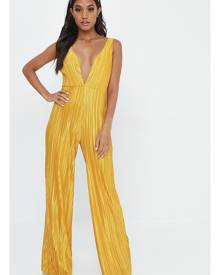 ISAWITFIRST.com Mustard Plisse Strappy Jumpsuit - 4 / YELLOW