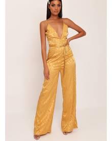 ISAWITFIRST.com Gold Jacquard Satin Wide Leg Plunge Jumpsuit - 4 / METALLIC