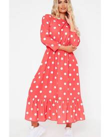 ISAWITFIRST.com Red Polka Dot Midi Dress - 4 / RED