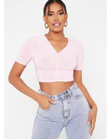 ISAWITFIRST.com Pink Basic Slinky Ruched Front Short Sleeve Top - 4 / PINK