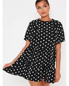 ISAWITFIRST.com Black Polka Dot Frill Sleeve Smock Dress - 4 / BLACK