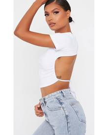 ISAWITFIRST.com White Cut Out Back Short Sleeve Crop Top - 4 / WHITE